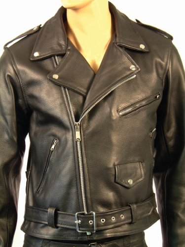 Skintan Mens Leather Fringed Motorcycle Jacket - Black - 8XL - 58