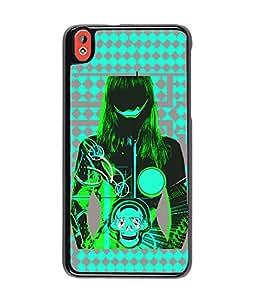 Fuson Blue Skull Pattern Girl Back Case Cover for HTC DESIRE 816 - D3897