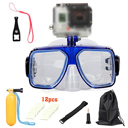 New Diving Glasses Mask Camera Accessory Kits -in-1 Dive Scuba Mask Snorkel Snorkeling Diving Glasses Cover Goggles Tempered Glass for Gopro-Blue