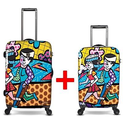 Heys USA - 2pcs. - SET 50 GBP Discount - Britto Spring Love, High-quality designer artist luggage set - 55 cm hand luggage and 66 cm 4-wheels Trolley by Heys USA