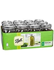 Ball 67000 Quart Wide Mouth Mason Jars, Silver Lids by