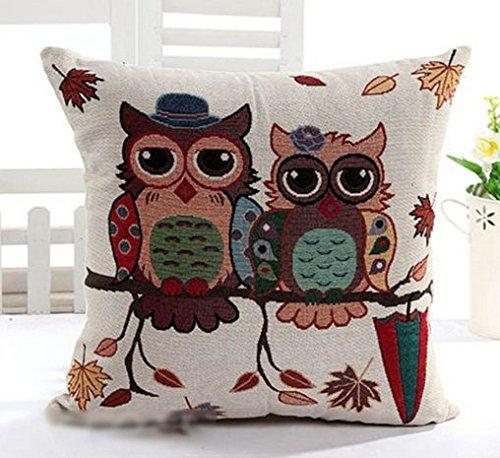 NO:1 zwei Owl Kissen Fällen dekorative Vintage Leinen Kissen-Abdeckungen