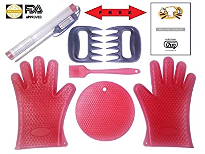BBQ Grilling Cooking Gloves Smoker/Kitchen 6pcSet+2pcFREE #1 Value Heat Resistant Silicone BUNDLE: Gloves/Solid Basting Brush/Thick Trivet/Meat Claws +2BONUSES LCD Thermometer & Grilling eGuide(Red)