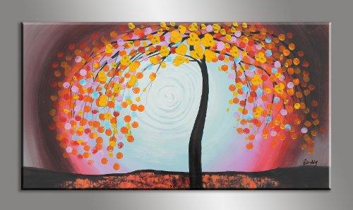 Flowering Cherry Trees Palette Knife Landscape Oil Painting Modern Living Room Dcor Large Original Artwork Signed