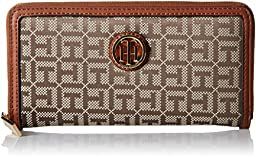 Tommy Hilfiger TH Serif Signature - Monogram Jacquard/Smooth Large Zip Around Wallet Wallets Tan/Chocolate