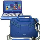 Evecase HP Stream 11 Case, Super Protection Sleeve Shoulder Bag / Multi-functional Briefcase Carrying Messenger Case Tote Bag w/ Handle and Shoulder Strap - Blue