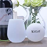 Icicle - Silicone Wine Glasses Champagne Beer Cups (Set of 2) - Flexible Glasses, Durable Drinking Cups 100% Shatterproof Drinkware for Camping, BBQ, Party, Poolside