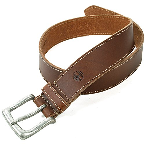 Timberland Mens Genuine Leather Stitch Strap Metal Buckle Brown Belt Size 32