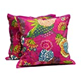 2 Pink Handmade Pillowcase Traditional Kantha Stitch Throw Pillow Cotton Cushion Cover