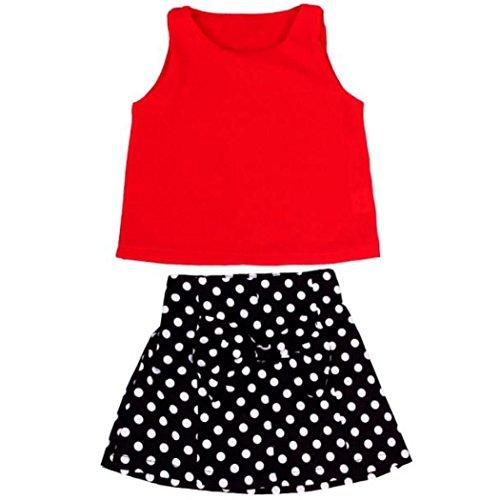 Culater® Ragazze conferisce a pieghe vestito a due pezzi gonna del vestito (130)