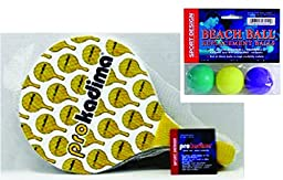 Pro Kadima Paddle Ball Set with Replacement Beach Balls - Paddles Design