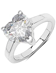 Johareez 4.70CTW White Cubic Zirconia .925 Sterling Silver Heart Shape Solitaire Ring For Women