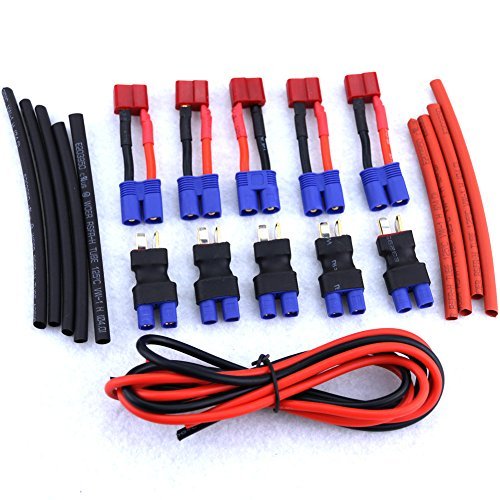 Glarks 10pcs T-Plug (Deans Style) Female to Male EC3 and EC3 Female to T Plug Male Adapter Connector Kit (Include: 14 Gauge Silicone Wire and Heat Shrink Tubing ) (Deans Connector With Heatshrink compare prices)