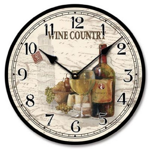 Wine Theme Country Wall Clock Wood with Canvas Finish