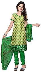 MANMAUJ Women's Silk & Georgette Unstitched Dress Material (Green)