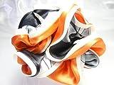 4色 ボリューム満点 ふわふわ フリル シルクサテン シュシュ スカーフ柄 ラージサイズ G204