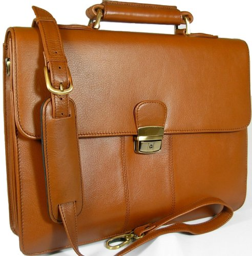 New top of the range gents large Visconti Tuscan brown leather business briefcase organiser bag 01775
