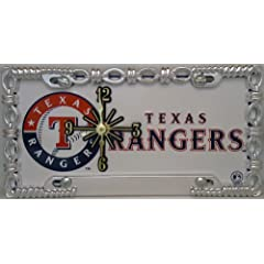 1 , Texas Clock, on a, ,TEXAS RANGERS, , Metal Sign, In, Metal, Chrome, Link,...