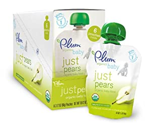 Plum Organics Just Fruit, Pears, 3.17-Ounce Pouches (Pack of 12)