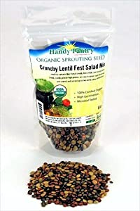 Crunchy Lentil Fest Sprouting Seed Mix - 8 Oz - Handy Pantry Brand - Organic - Green, Red & French Lentils- Edible Seeds, Salad, Soup, Sprouts & Food Storage
