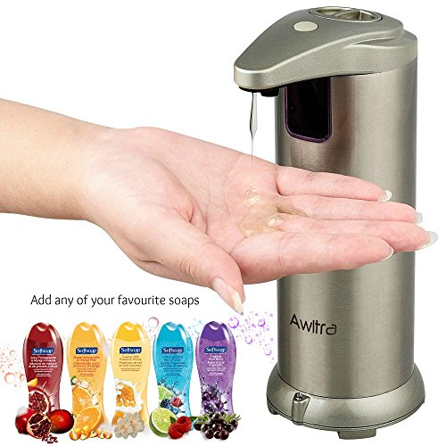 Awltra Automatic Stainless Steel Hands Free Kitchen and Bathroom Countertop Soap Dispenser