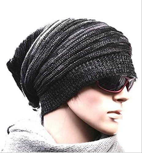 京都おかげさまで 選べるカラー ボーダーニット帽 スノー ワッチキャップ ユニセックス   オリジナルステンレスネックレス付き。 (ブラック)