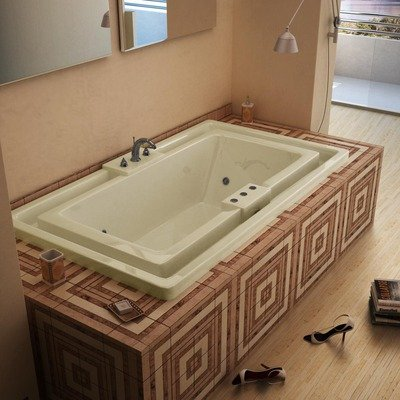 "Barbados 46 X 78 X 23"" Endless Flow Whirlpool Jetted Bathtub Color/Trim / Tile Flange / Pump: Biscuit / Polished Chrome / No / Left"
