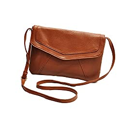 Di Grazia Stylish Italian PU Leather Envelope Women's Shoulder Sling Handbag - brown