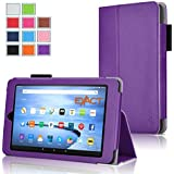 Fire 7 2015 Case , Exact [PRO Series] Professional Slim-Fit PU Leather Folio Case for Amazon Fire (5th Generation - 2015 release) Purple