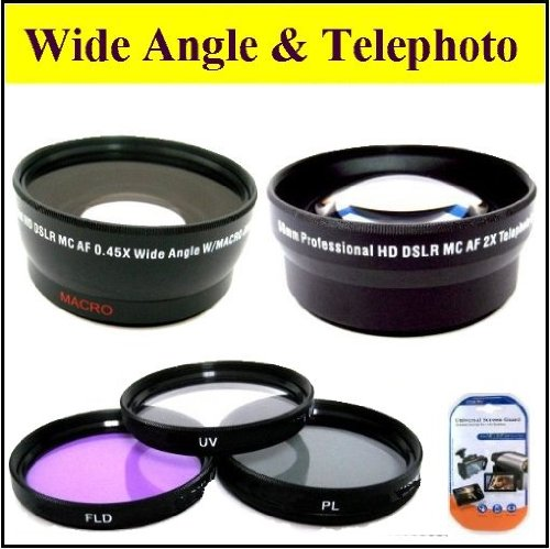 Deluxe Lens Kit For Sony Hdr-Ax2000 Handycam + Includes 72Mm 3Pc Filter Kit + 72Mm 2X Telephoto Lens + 72Mm 0.45X Wide Angle Lens With Macro + Microfiber Cleaning Cloth + Lcd Screen Protectors