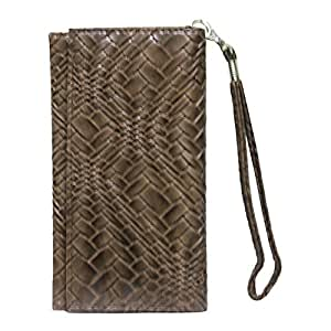 Jo Jo A5 Bali Leather Wallet Universal Pouch Cover Case For BLU Vivo IV Brown