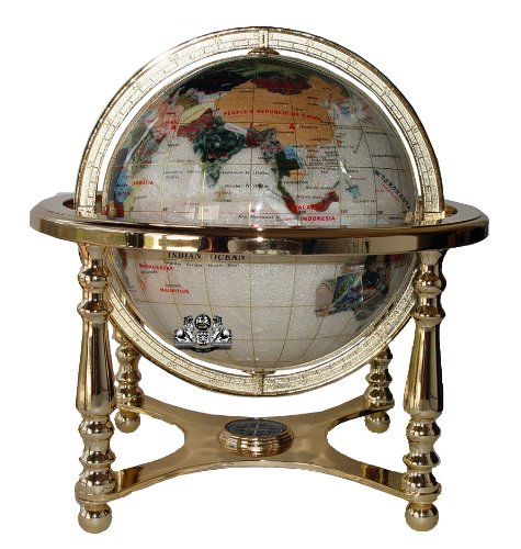 Imagen de Unique Art 21-Inch Tall Perla Ocean Table Top Gemstone Mundo Globo con 4 Stand Oro Leg