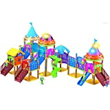 WolVol 184 piece Building Set Musical Amusement Park with Lights, Can assemble in many formats, Includes Mini People