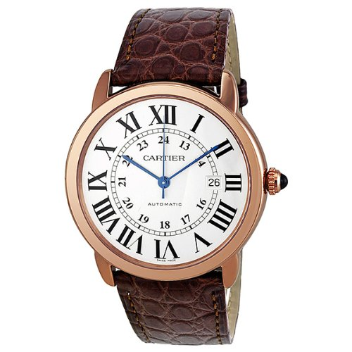 Cartier Ronde Solo de Cartier XL Automatic Silver Dial 18 kt Rose Gold Mens Watch W6701009