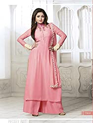 Krishna Pink Color Georgette Semi Stitch Dress Material With Dupatta..