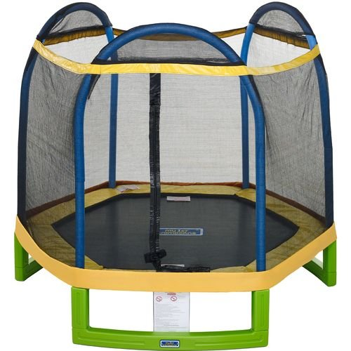 Jump-ZoneTM-Indoor-Outdoor-7-Round-Kids-Trampoline-with-Safety-Enclosure-Net