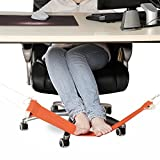 Foot Hammock,ESDAR Portable Mini Office Foot Hammock Stands Adjustable Desk Feet Hammock Resting Relieve Foot Fatigue Foot Pedal (Orange)