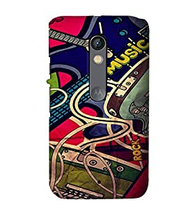 Fuson Premium Rock Music Printed Hard Plastic Back Case Cover for Motorola Moto X Play