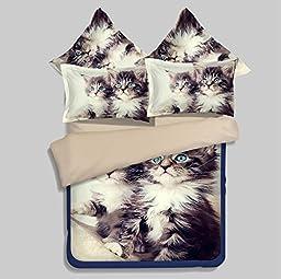 LELVA Lovely 3d Print Cats Pattern Bedding Sets, Kids Bedding Set, Teens Bedding, Flat Sheet / Fitted Sheet, Twin Full Queen Size (4 - Fitted sheet, Queen)