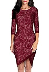 Miusol® Women's Elegant Floral Lace 2/3 Sleeve Slim Evening Dress