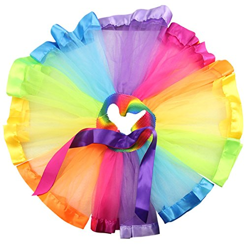 Jastore® Little Kids Girls Layered Cute Ribbon Tutu Skirt Dance Ballet Party Dress (Large/5-8 Years, E)