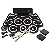 RockJam Electronic Roll Up Drum Kit with Built in Speakers, Pedals, Drumsticks, and Power Supply