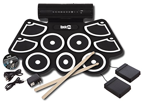 RockJam-Electronic-Roll-Up-MIDI-Drum-Kit-with-Built-in-Speakers-Foot-Pedals-Drumsticks-and-Power-Supply