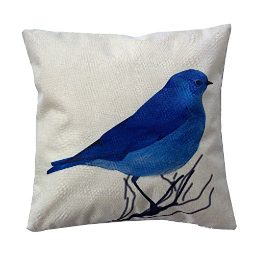 Monkeysell European Rural Pillow Cushion Linen Cushion Bird And Flower Parrot Cushion Decorative Pillows Home Decor Throw Pillow Cushion 18Inches 18Inches (S069E4) (Blue And White Seat Covers compare prices)