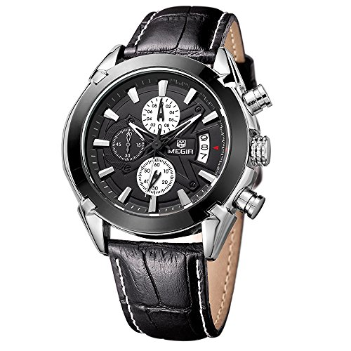 Megir Orologio da polso modello cronografo, al quarzo, da uomo, con cinturino in pelle nera