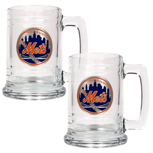 MLB New York Mets Two Piece 15-Ounce Glass Tankard Set- Primary Logo (Cubs Beer Glasses compare prices)