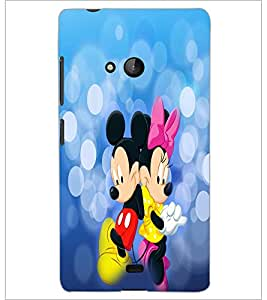 PrintDhaba Mickey and Minnie D-3476 Back Case Cover for MICROSOFT LUMIA 540 (Multi-Coloured)