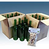 Home Brew & Wine making - Pack Of 24 Green Wine Bottles With Balliihoo® Corks