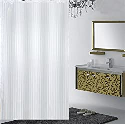 Yellow Weaves PVC Self Stripes Plain White Shower Curtain 52 X 82 Inches - 8 Hooks