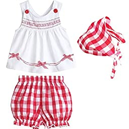 PanDaDa Baby Girls Sleeveless Tops Plaid Shorts Scarf Bowknot Outfits Sets 1-3y